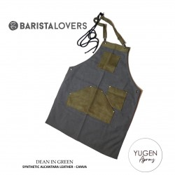"Yugen Aprons ""Dean In Green"" Premium Apron With Double Synthetic Alcantara-Canva"