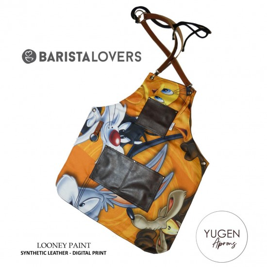 "Yugen Aprons ""LOONEY PAINT"" Digital Print Leather Synthetic"