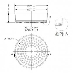 Integrated membrane shower screen with 200 µm filtering capacity