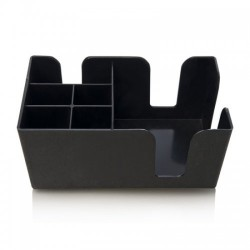 Black Plastic Bar Organizer & Napkin Holder