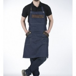 Apron Barista Jean detailing leather pockets