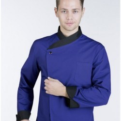 Cook jacket that buttons on the side buttoning
