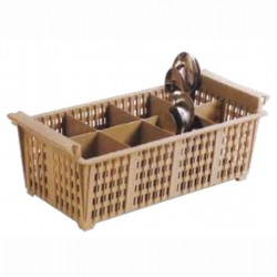 Cutlery basket with 8 Slots plastic 43x21x15cm brown