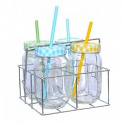 Jar Cocktail With Straws