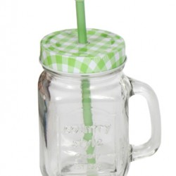Cocktail Jar With Lid And Straws In Various Colors