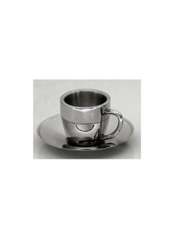 Ανοξείδωτο φλυτζάνι καφέ ισοθερμικό 90ml 18/10 με πιατάκι
