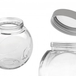 Glass Jar With Silver Transparent Lid 600ml